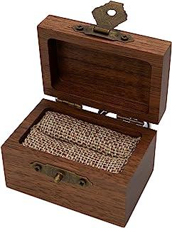 质朴木戒指盒,适用于婚礼、戒指制作、戒指轴承或订婚。(胡桃木)