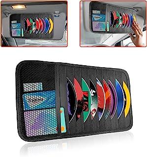 Trobo 遮阳板收纳袋,9 个储物套和 1 个网眼口袋遮阳板 CD 支架,适用于汽车、个人物品、文件、注册和保险卡、票证和 DVD 储物盒袋、遮阳板配件