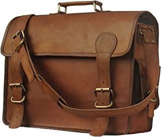 KK's Leather 结实的信使皮包,皮革笔记本电脑包,办公包,书包,单肩包,隔夜复古皮革男女包,棕色,16英寸(约40.64厘米)