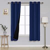 Deconovo 双层遮光索环纹理内衬人造亚麻遮光窗帘适用于客厅 *蓝 38 x 72 Inch CT2750D-4