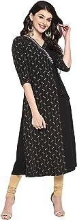 Janasya 印度女式黑色涤纶绉纱衬衫