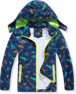 男孩恐龙防雨夹克,带可拆卸兜帽,轻质防水雨衣,适合儿童风衣