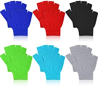 6 双儿童无指手套半指手套冬季针织儿童手套保暖无指打字手套纯色针织手套男孩女孩