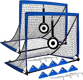 EAZY2HD 便携式足球球门,弹出式球网,带瞄准目标,8 个敏捷训练锥体和便携式手提箱,适合儿童和成人,2 件套