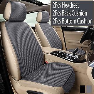 hikeaglauto 汽车*座椅靠垫套垫适用于汽车用品办公椅通用防滑,防止皮革座椅在夏季燃烧和牛仔裤褪色(灰色 2 前排座椅)
