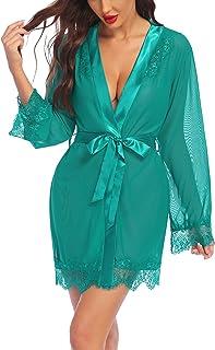 Avidlove 性感内衣长袍蕾丝和服罩衫缎面网眼长袍娃娃装内衣套装
