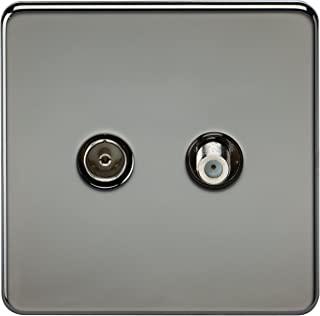 Knightsbridge 无螺丝电视和卫星电视插座 - 家长 黑色镍 Black Nickel SF0140BN