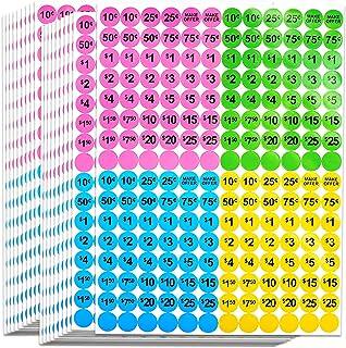 Dreecy 3840 件车库销售预定价格标签 1.91 厘米圆形直径跳蚤市场预印定价贴纸零售,亮霓虹多色(粉色/*/蓝色/黄色)