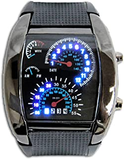 DDL 腕時計 メンズ おしゃれ スピードメーター デザイン ウォッチ LED デジタル クオーツ インジケーター ブラック
