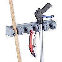 Relaxdays 实用支架,壁挂式,5 个夹架,6 个折叠钩,通用工具架,40 厘米,PP,灰色