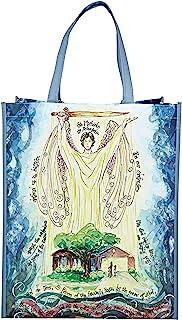 蓝色圣迈克尔宗教可重复使用托特包,基督教艺术购物袋,教堂,13.5 英寸