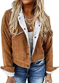 GOSOPIN 女式系扣机车复古灯芯绒夹克短外套