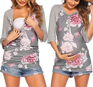Ekouaer 哺乳上衣纽扣七分袖女式孕妇 T 恤 适合哺乳 (S-XXL)