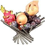 PENGKE 创意不锈钢旋转水果碗,水果篮水果架,厨房储物架,银色