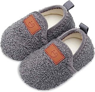 Scurtain 儿童幼儿拖鞋袜子人造羊毛拖鞋男孩女孩婴儿防滑橡胶鞋底