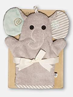 ZOOCCHINI 婴儿动物面部沐浴手套,新生儿至 18 个月,5 x 9 英寸,* 纯棉雪地毛巾 大象灰色