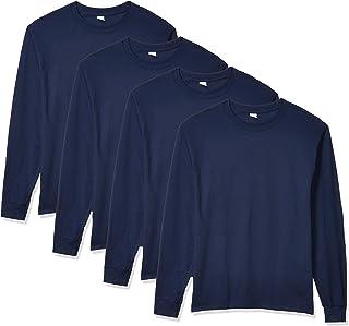Hanes 恒适 男士4件长袖Comfortsoft 休闲T恤