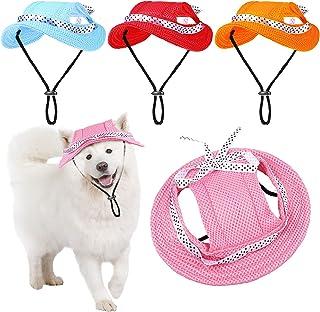 4 件圆形帽檐公主帽遮阳帽,带可调节颈带耳孔和波尔卡圆点蝴蝶结,宠物狗网眼多孔太阳帽,适合小狗泰迪小型中型犬(蓝色、粉色、红色、橙色、中号)