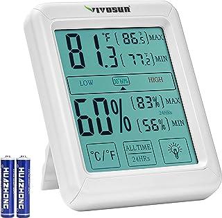 VIVOSUN 数字室内温度计和湿度计,带湿度计,精确的温度湿度监测仪,带触摸 LCD 背光,适用于家庭、办公室、温室、室内花园(含电池)