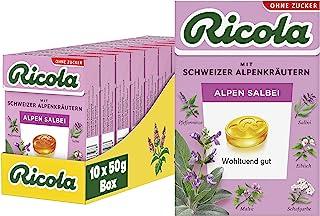 Ricola Alpen Salbei, 10 Packungen Schweizer Kräuter-Bonbons zuckerfrei mit Salbei, 500 g