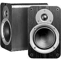 Nero Studio5 动态功率处理 100W Hi-Fi 5.25 英寸书架扬声器,黑色木纹设计,一对
