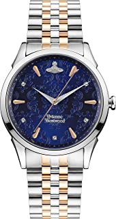 Vivienne Westwood The Wallace 女士石英手表蓝色宝石镶嵌表盘和双色不锈钢表链