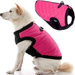 Gooby Fashion Quilted Bomber Dog Vest with Stretchable Chest, Pink, X-Small