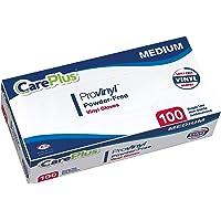 [100 只] Careplus 一次性塑料 Pro 乙烯基透明中号手套,不含*,不含乳胶和粉末,非常适合家庭厨房或办公…