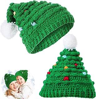 2 件圣诞节冬季针织钩针编织帽中性款圣诞老人帽绒球厚实圣诞帽手工保暖针织帽儿童成人圣诞帽
