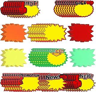 550 件价格标签标志荧光标签空白星形霓虹纸价格标签,适用于零售店,超市,11 种款式