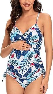Ziola 孕妇泳衣连体式前扭式泳衣复古别针孕妇泳衣连体泳衣