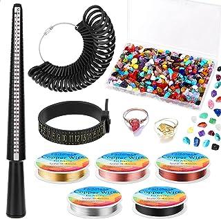 Gikasa 戒指制作套件,戒指尺寸测量工具,带戒指芯轴,戒指尺寸测量,手指尺寸测量,珠宝线和水晶宝石珠,用于珠宝制作