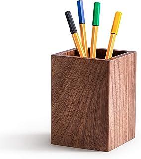 SefaOnur 胡桃木笔和笔筒,适用于书桌,大号方形设计木制笔和铅笔杯,书桌笔架,化妆刷架