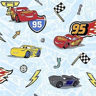 Komar 迪士尼无纺布壁纸 - 汽车总动员 Lets Race - 1卷 - 尺寸:10.05 x 0.53 米 - 儿童房、Lightning 、汽车、赛车