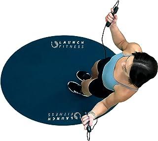 Launch Fitness 室内/室外跳绳垫 | 厚实耐用 PVC 在锻炼过程中吸收冲击力 | 家庭健身房锻炼配件 | 防滑椭圆形设计用于地板和绳子保护 | 52 英寸 x 32 英寸