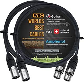 2 件 - 3 英尺 - Gotham GAC-4/1(黑色) - 星形四头形,双屏蔽平衡公对母麦克风电缆带安酚 AX3M 和 AX3F 银色 XLR 连接器 - 由 WORLDS BEST 电缆定制