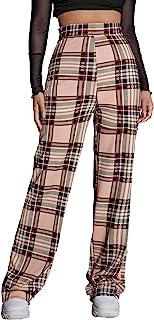 WDIRARA 女式格子高腰拉链侧弹力休闲长裤