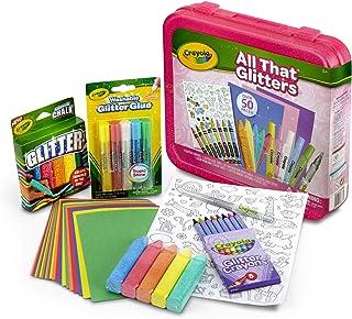 Crayola 所有闪闪发光的艺术礼品为孩子们5岁及以上,包括闪亮的蜡笔,标记,胶水,粉笔,纸和贴纸在一个方便的小箱,超过50件 - 04-6887