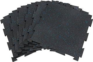 RevTime 6 件互锁橡胶地砖 50.8 厘米 x 50.8 厘米 x 0.95 厘米,10 毫米厚 SBR 和 EPDM 橡胶,适用于健身地板、健身地板、运动设备垫和车库地板(17 平方英尺)(6 件装)