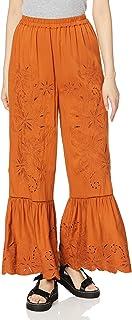 角落rid 裤子 【Ca】针织刺绣喇叭裤 女士 112020756901 橙色 日本 F (FREE サイズ)