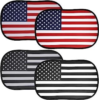 4 件汽车遮阳罩美国国旗汽车遮阳罩 49.7 x 27.9 厘米汽车侧窗遮阳遮阳罩 侧窗和后窗 美国国旗遮阳板 适用于汽车防眩光 防紫外线