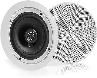Pyle 5.25 英寸(约 13.3 厘米)一对蓝牙嵌入式天花板双向扬声器系统快速连接可变圆形/方形烧烤聚丙烯锥和高分子高音扬声器立体声 150 瓦 (PDICBT552RD)