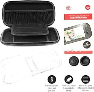 任天堂 Switch Lite 手提箱,硬壳保护膜,屏幕保护膜和拇指杆手柄盖,可容纳 8 个游戏和配件