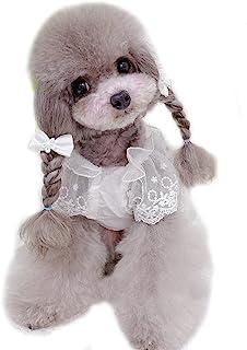 KILLUA 狗狗礼服宠物衣服甜美蕾丝连衣裙女孩,适合春季、夏季和秋季穿着,适合派对、重要场合,可爱服装设计(白色蕾丝裙,XS 码)