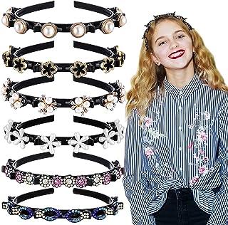 6 件串珠发夹头带双刘海发型发夹头带双层扭扣头带花朵水钻发带夹珍珠夹头头带适合女士女孩
