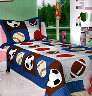 Elegant Home 多色运动足球篮球 足球设计 2 件被单床单被子 适合儿童青少年男孩 # 18-07 全套尺寸