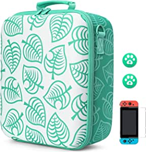 Arttodo Animal Crossing Travel 便携收纳盒,适用于 Nintendo Switch 控制台、Pro 控制器和配件的硬质保护袋,包括屏幕保护膜和拇指握盖