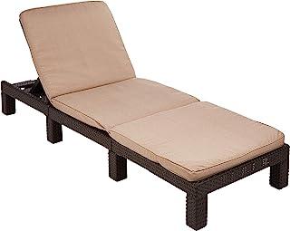 """Allibert by Keter"" 日光躺椅 Daytona SL 棕色 / 灰褐色 包括枕头,可调节头枕,塑料,扁平藤编外观"