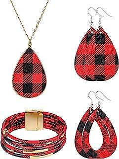 女式珠宝套装,MTSCE 4 件 17K 金时尚格子皮革吊坠女士防*项链耳环戒指和手链婚礼首饰