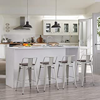 Andeworld 金属吧台凳 4 件套 厨房柜台凳 Bristro Barstools 工业酒吧凳(24 英寸,白色带木质座椅)